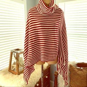 GORGEOUS striped burgundy sweater poncho! NEW!!